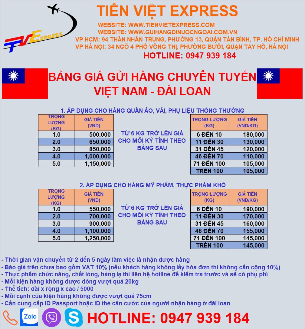 Bảng giá gửi hàng đi đài loan 2021